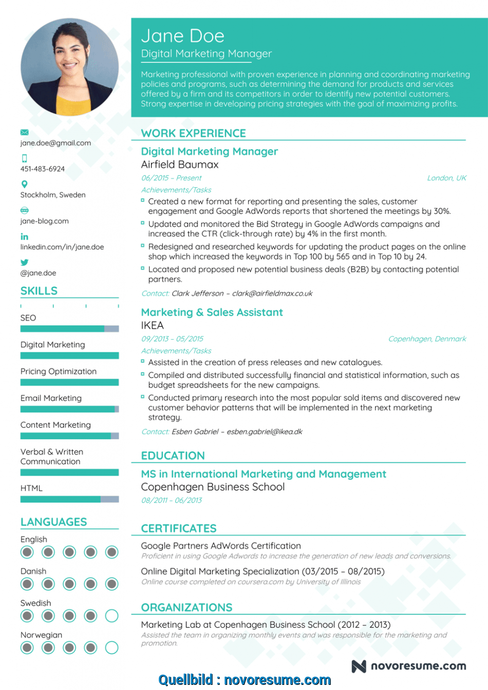 Erweitert Marketing Manager Resume Example, Update Yours ...