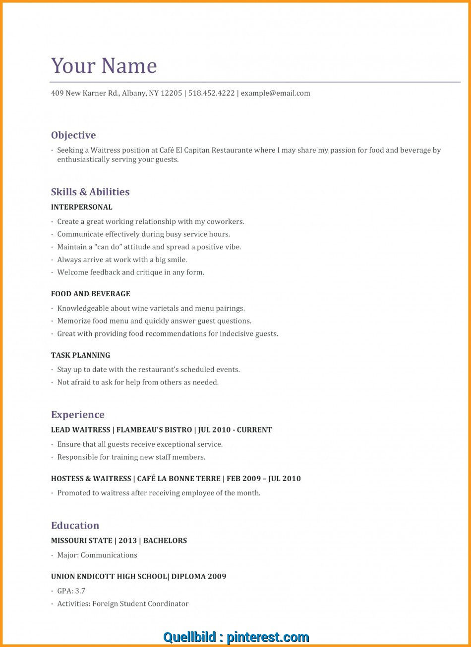 Positiv Waitress, 4-Resume Examples, Pinterest, Sample ...