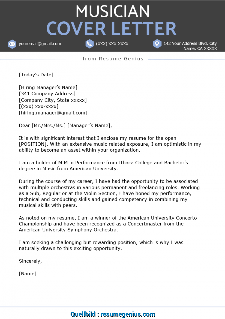 Qualifiziert Musician Cover Letter Sample Resume Genius