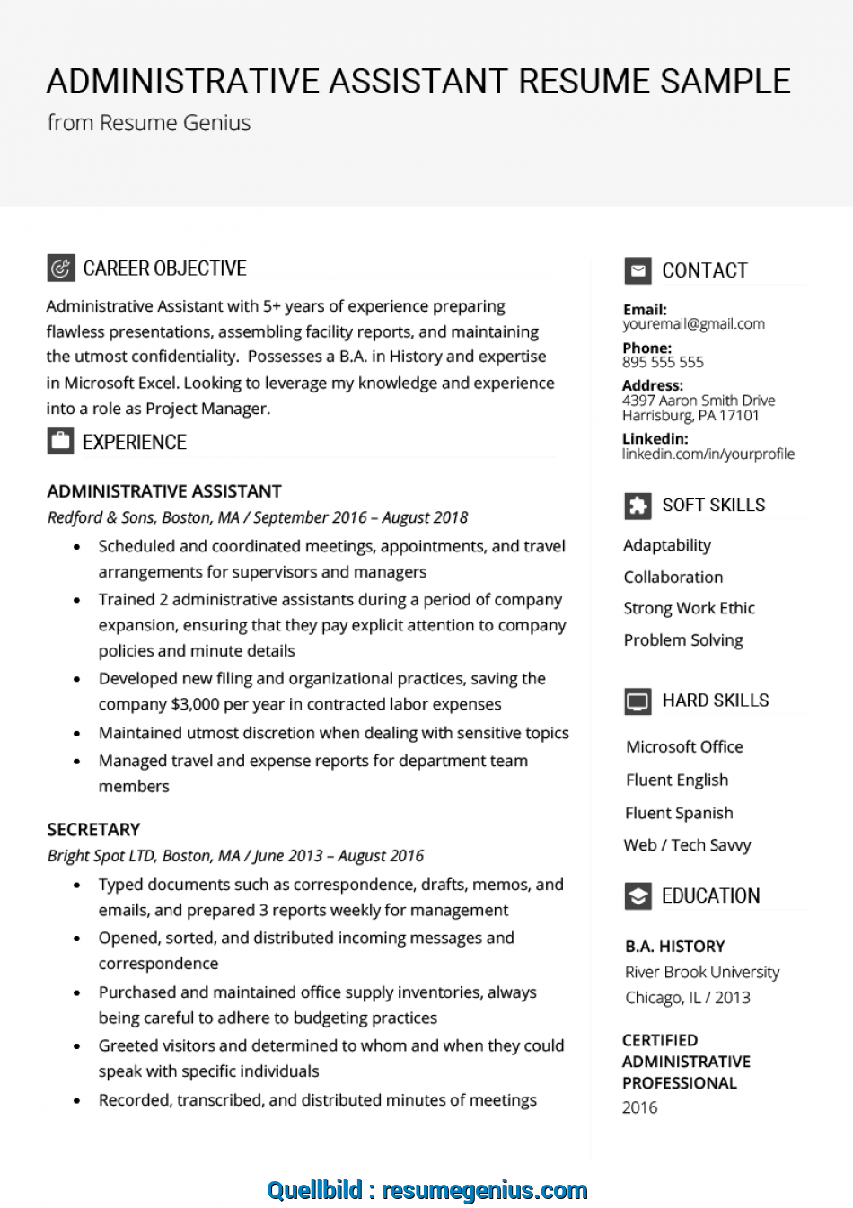 Prime Administrative Assistant Resume Example & Writing Tips ...