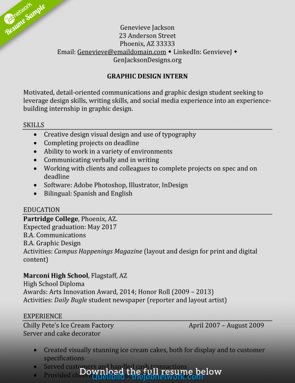 Erweitert How To Write A Perfect Internship Resume (Examples ...