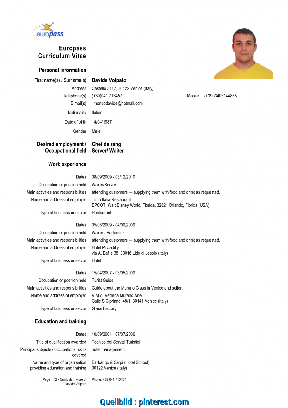 Pramie Cv Form In English Download Resume Examples To