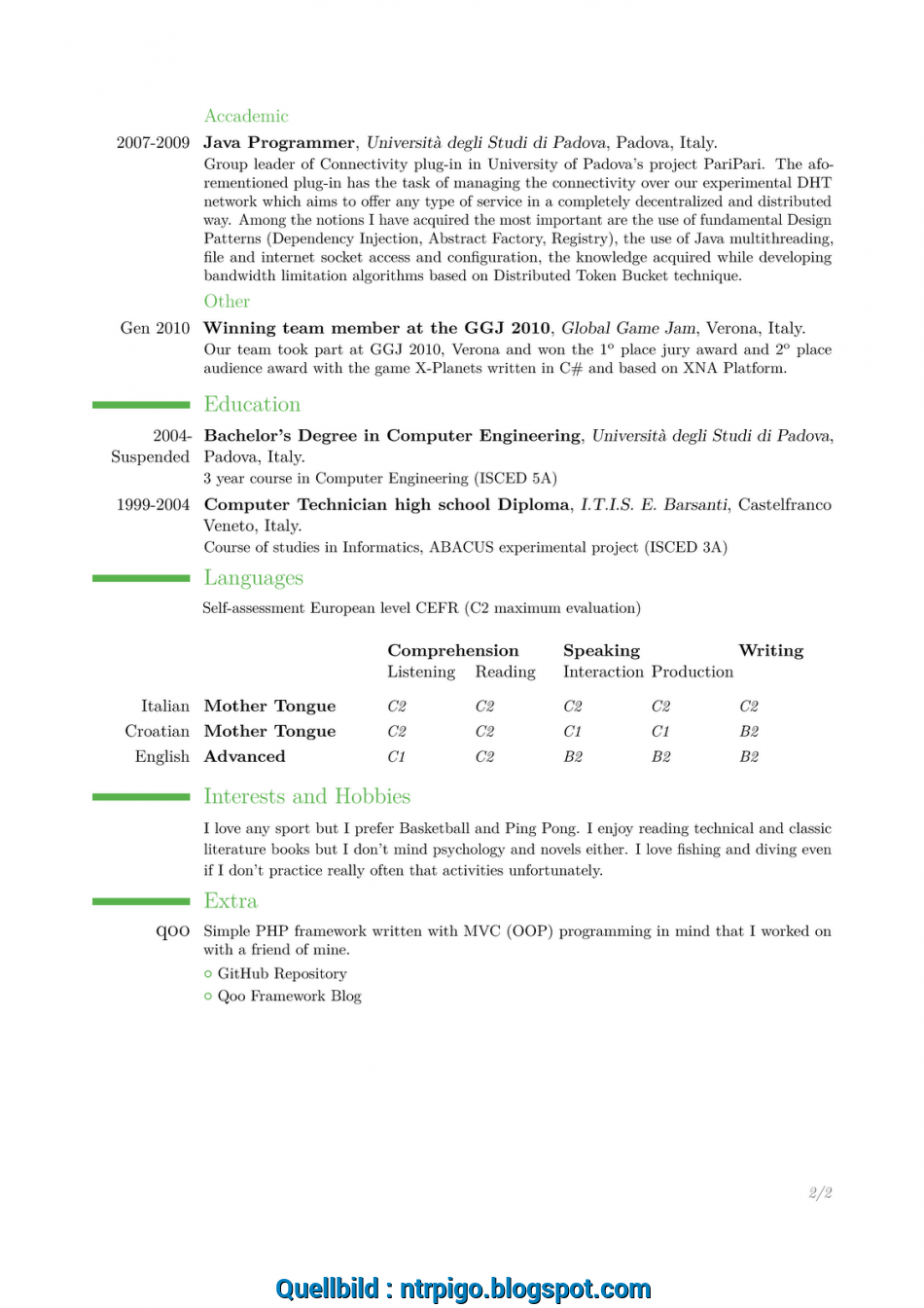 Qualifiziert Here There Is An Example Of My CV Compiled In English Tweaking, Template: