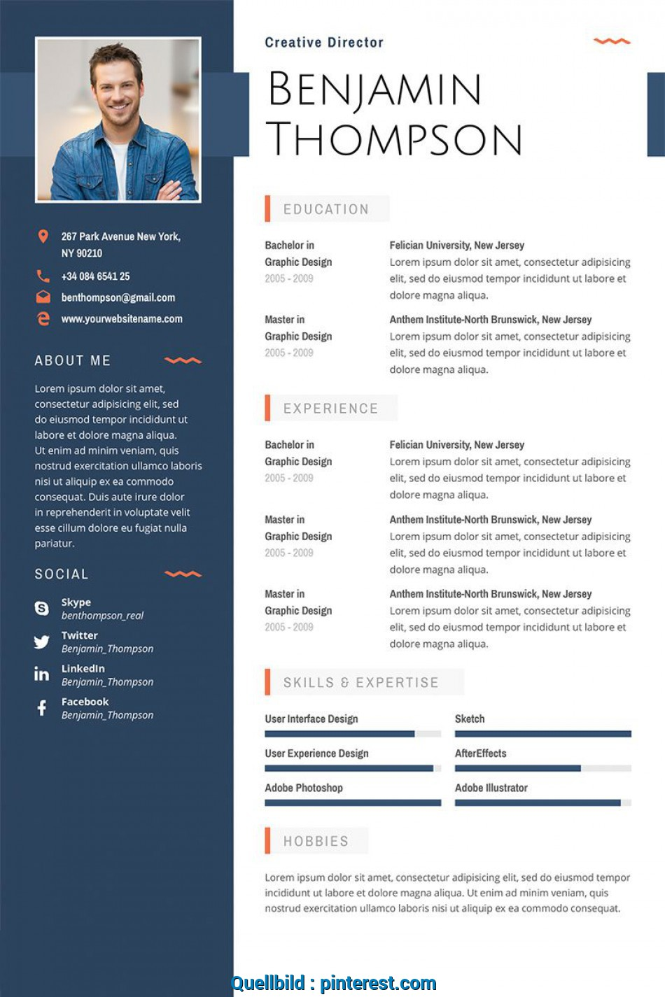 Primär Benjamin Thompson, Multipurpose Elegant Resume Template ...