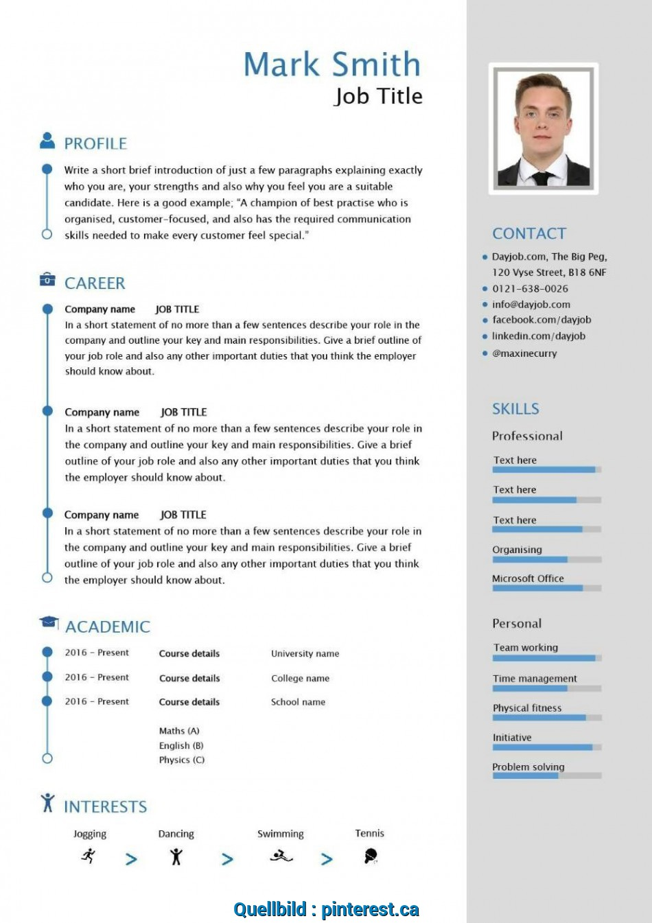 Kostbar Free Downloadable Cv Template Examples Career Advice, To Write, Resume International Format