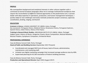 Wertvoll International Curriculum Vitae Example, Writing Tips