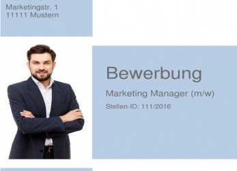 Primär Deckblatt Bewerbung 29, Muster Marketing Manager / Marketing Spezialist / Projektmanager / Projektleiter