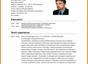 Prämie Format Cv English.German Cv Template, 2016 Curriculum Vitae