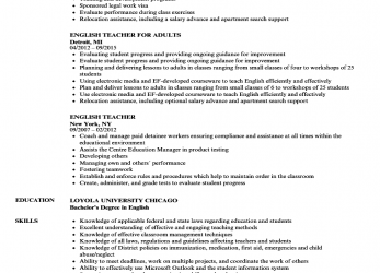 Neueste Download English Teacher Resume Sample As Image File