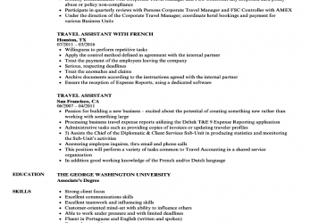 Vorhanden Travel Assistant Resume Samples, Velvet Jobs