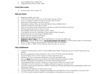 Ausgezeichnet Middle School Student Resume Example, Stacey Middle School, Grade Interview, Portfolio Project