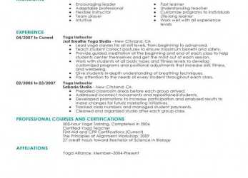 Oben Best Yoga Instructor Resume Example, LiveCareer