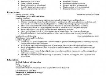 Komplett Best Doctor Resume Example, LiveCareer