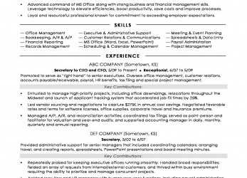 Großartig Secretary Resume Sample, Monster.Com