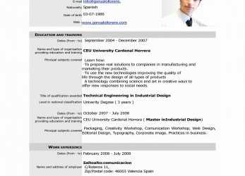 Frisch Editable Resume Template Resume Format Editable Beautiful Free Download Cv Europass Pdf