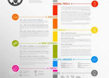 Kostbar Vector Minimalist Cv / Resume Template, Minimalistic Colorful Version, With Timeline In, Middle