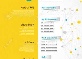 Qualifiziert Creative CV Template With Yellow Paper Stripe. Stock Vector, 70020444
