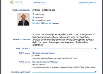 Ausgezeichnet Example Of A CV In, Europass Format, Exported From CV Partner: