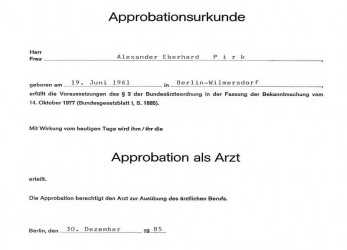 Detail Apprbationsurkunde Arzt