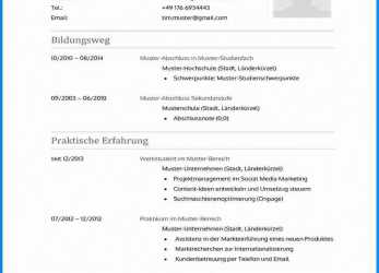 Briliant 69 Templates Lebenslauf Vorlage Word 2016 To Success : Bewerbung
