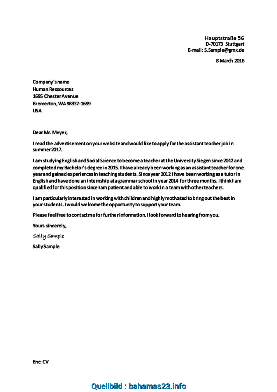 Gut Bewerbung Schreiben Letter Of Application With Example