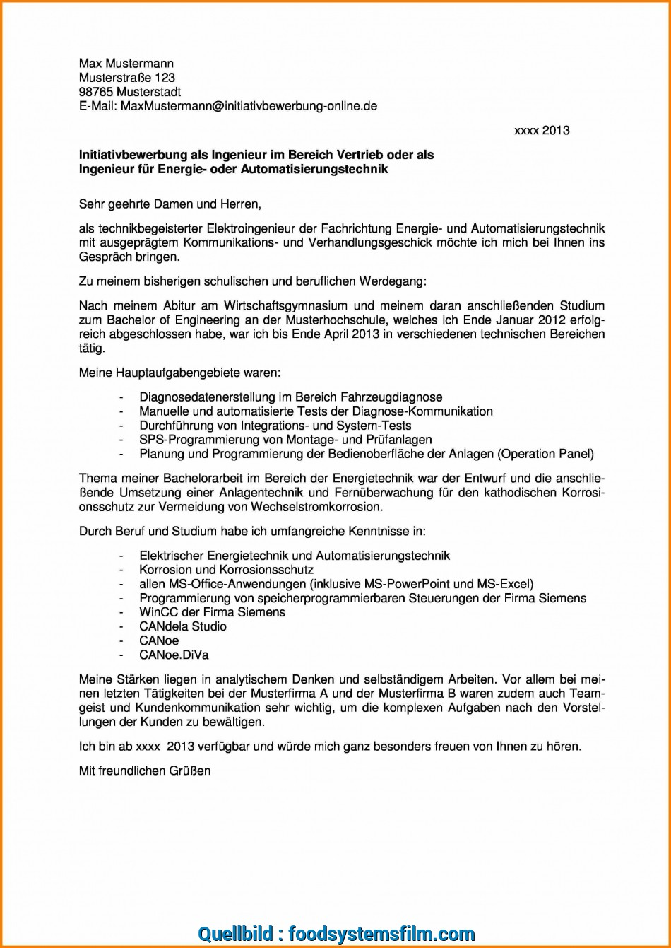Vorhanden 12+ Initiativbewerbung Ingenieur, Food Systems Film
