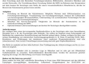 Ausgezeichnet Meta-Science, Position (3+2 Years) At, Munich: Research Performance Evaluation, Bibliometrics, Altmetrics, Social Network Analysis (Announcement Is In