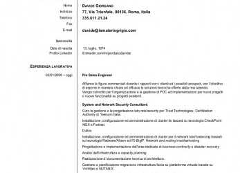 Beste Davide Giordano Security Engineer, Italian Curriculum Vitae