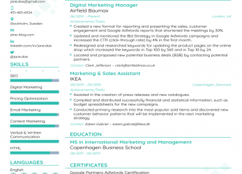 Erweitert Marketing Manager Resume Example, Update Yours, For 2019