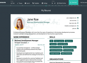 Positiv A Professional Resume Builder Showing A Resume, A Business Development Manager