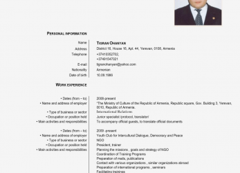 Vorhanden Europass Cv English Example, Cv Examples Europass English Cv